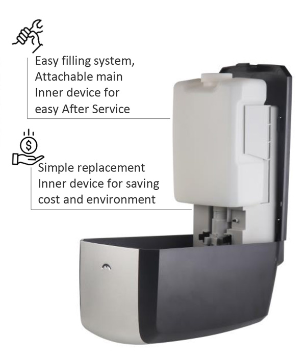 Easy filling system for SD30 Touch Free Auto Soap Dispenser